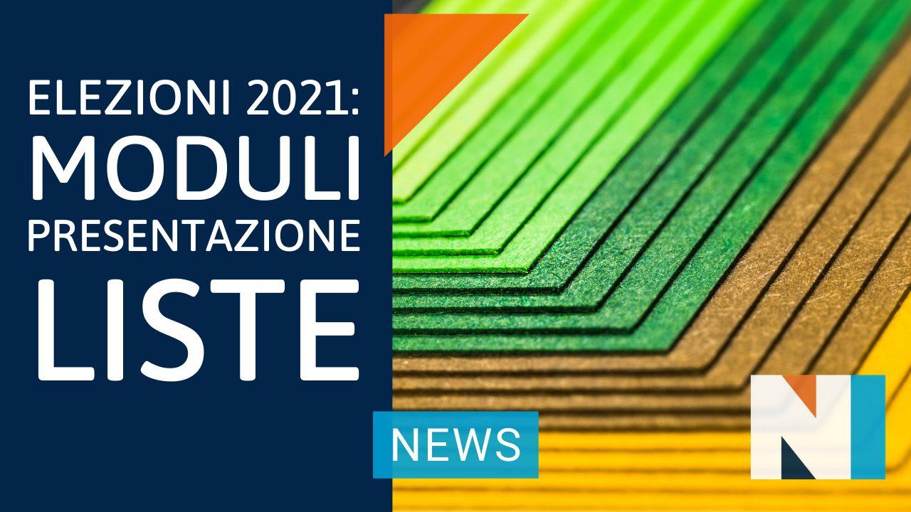 Elezioni 2021: Moduli Presentazione Liste