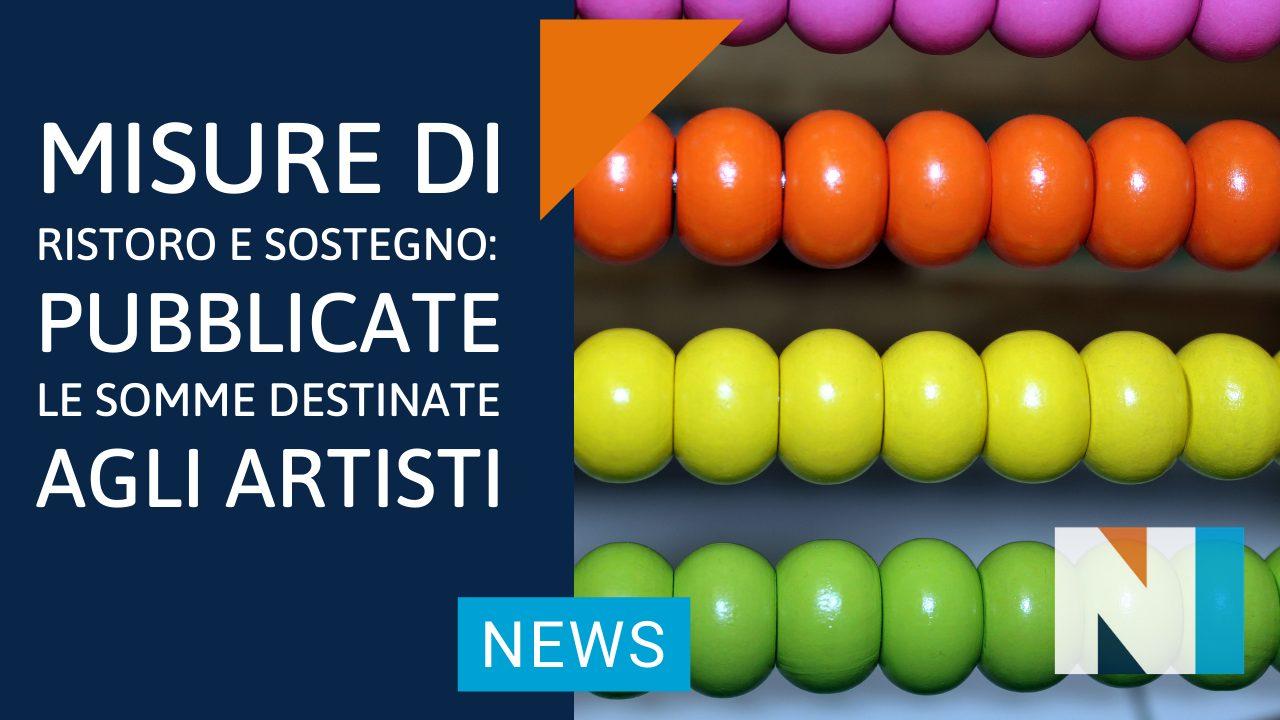 Misure di Ristoro e Sostegno: pubblicate le somme destinate agli Artisti