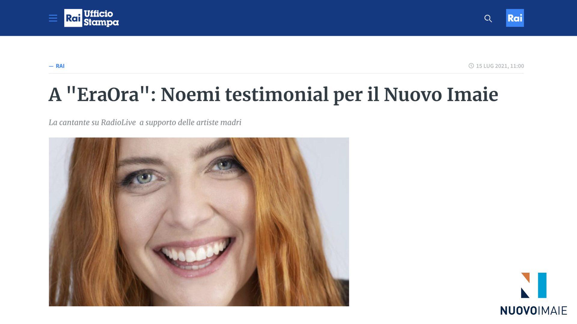 """NUOVO IMAIE: Noemi e Maila Sansaini ospiti del programma """"EraOra"""" su Rai RadioLive"""